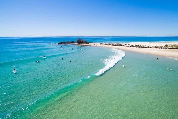 An aerial view of Currumbin on a perfect day on Queensland's Gold Coast in Australia